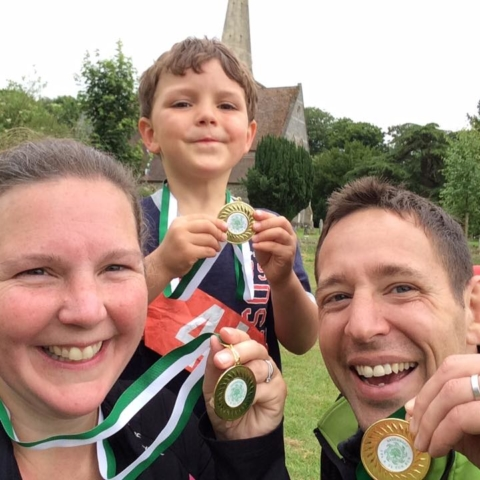 Three happy medal winners having completed the Savernake Fun Run